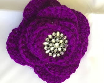 Purple Large Crochet Flower Key Ring or Planner/Purse Charm (P2)