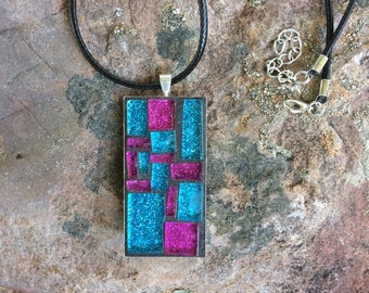 Mosaic Jewelry/Mosaic Necklace Pendant/Violet and Indigo Stained Glass Pendant/Wearable Art/Gift for Her Under 30/Mosaic Gift