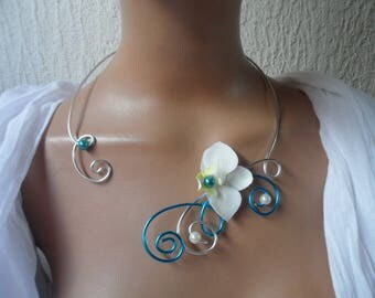 Necklace for bride or witness - silver turquoise and ivory Orchid