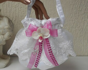 Purse - bag for bridal white and pink FUCHSIA