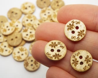 Floral 2 Hole Coconut Small Round Buttons 13mm, Pack of 8