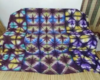 Thrown large ethnic indigo yellow lamaisonrafacia hand dyed patchwork sofa bed. 364 condition 314