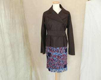 Pencil skirt, wallet, fabric patchwork red blue and beige T42