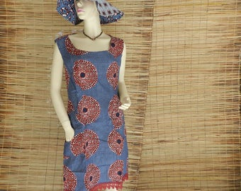 Chic T 36/40 mi-courte and zip in African Ankara fabric lace dress