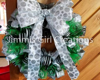 Black, Silver, and Green Deco Mesh Wreath