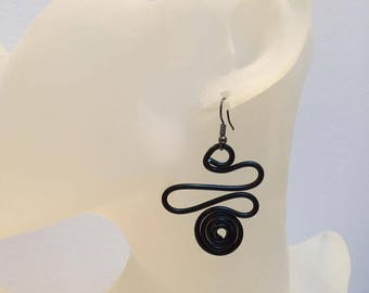 Aluminum Black Spiral Wire Earrings