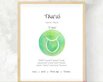 Taurus   Astrology Gift   Art Print   Zodiac Signs   Bestfriend Gift    DIY Wall Art   Taurus Gift   Horoscope