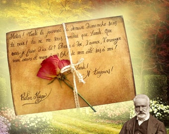 Replicas: Love letter from Victor Hugo to his wife Léonie - Biard Calligraphie - dried Rose