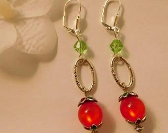 Earrings red and Green Pearl Stud Earrings
