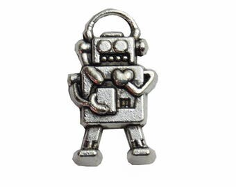 Set of 5 Robot Charms charms in silver