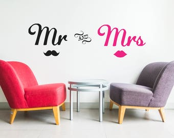 MrAndMrs Wall Decals-Lips Wall decals-mr mrs wall decal-Vinyl wall decals-Vinyl Sticker-Mr and Mrs Stickers-Bedroom wall decal