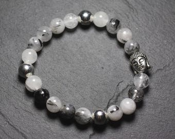 Gemstone - 8mm Tourmaline Quartz and Buddha bracelet