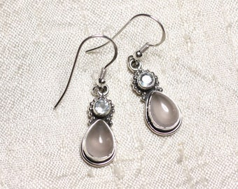 BO206 - stone Blue Topaz Rose Quartz and 925 Silver earrings drop 22mm