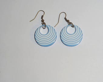 White and blue earrings