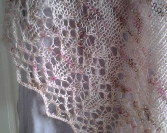 """Lace shawl """"Amica"""" hand knitted from wool and silk"""