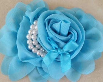 1 blue flower with pearls 13 CMS applique for sewing or craft