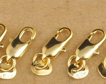 5 lobster claw clasps plated gold 18 k.