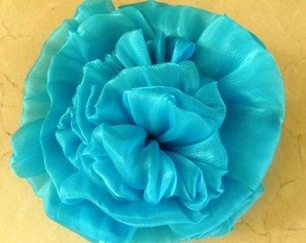 set of 2 large turquoise flower 19 cm organza applique