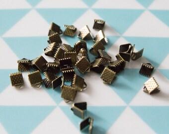 Set of 10 caps 6 mm for MULTISTRAND bracelets claws, bronze color
