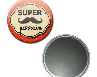Badge 56 mm - great Godfather mustache magnet orange baptism gift