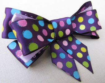 Purple Colorful Polka-dot Hair clip Bow
