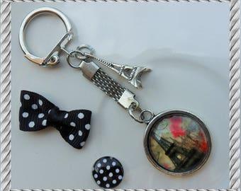 Keychain jewelry bag Paris Eiffel Tower charm 25mm glass Cabochon