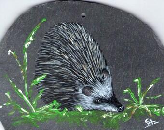 hedgehog acrylic painting on Slate