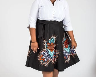 Cotton and African Print Wrap Skirt