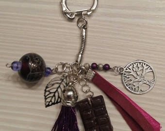 Purple, chocolate and silver Keychain, tree of life and leaf