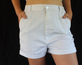 relaxed high-waisted pinstripe shorts