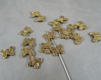 Butterfly gold 10 x 9 mm L43 20 beads