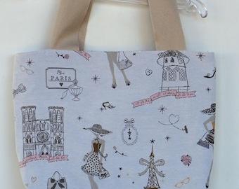 "Girl /jeune woman ""paris"" in pink and beige jacquard tote bag"