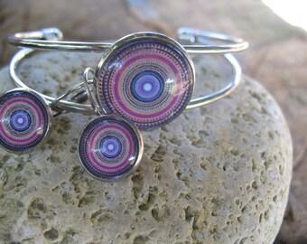 "Set earrings and bracelet ""roses"" cabochon"