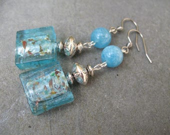 Earrings blue turquoise, Aquamarine and glass beads
