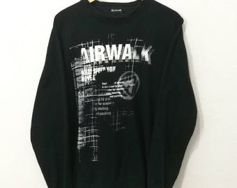 RARE!! Vintage Airwalk Streetwear Big Spellout and Logo On the Back Sweatshirt Jumper Pullover