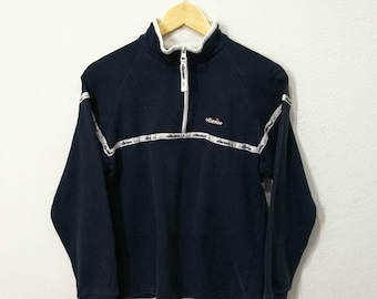 RARE!! Vintage Ellesse Small Logo Spellout Embroidery Half Zippers Sweatshirt Jumper Pullover