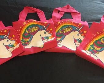 Pink tote bag with unicorn and rainbow print - can be personalised