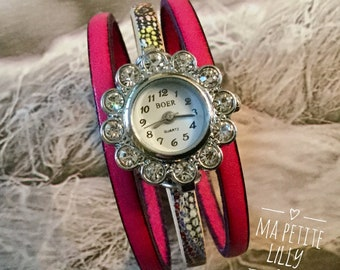 Ladies size watch. XS. Wristwatch original round silver-tone with Rhinestones and pink print