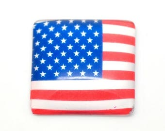 1/8 square 25mm (USA) American Flag glass cabochon