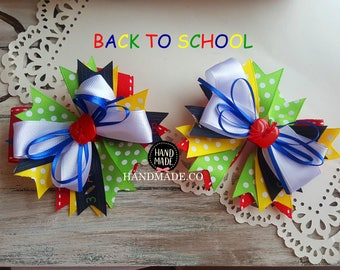 Back to School Girls Hairbow Set pigtail hair bows
