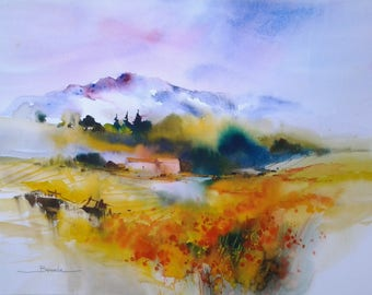 "Landscape watercolor painting ""Spring"" original watercolor on arche paper"