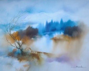 """Landscape watercolor painting """"winter morning, a mist shrouded the Lake"""""""