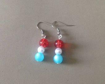 "Pair of earrings ""my little Patriots"""