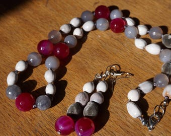 Necklace and earrings with zanzibar and stones and job tear seeds fine agates