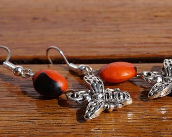 immortal red and black and silver bee earrings