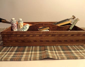 Handmade Wood Carrier, Tray, Tote