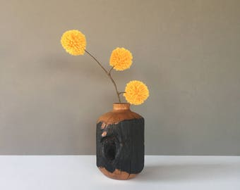 Vintage Live Edge Wood Vase, Handmade Turned Vase, Wood Bud Vase, Flower Vase, Wooden Vase, Boho Decor