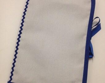 Health book has cross-stitch, royal blue cloth 100% cotton, outline choice
