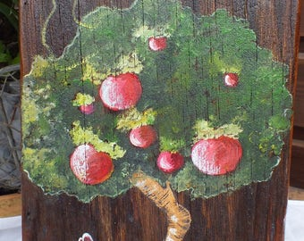 painting on wood (oak): Mr Lapin front super Apple...