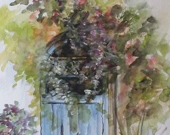 Watercolor: blue door in a flower garden